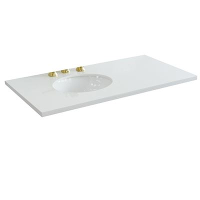 "43"" White quartz countertop and single oval sink"