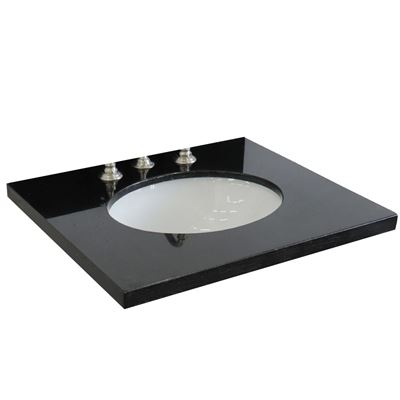 "25"" Black galaxy granite top with oval sink"