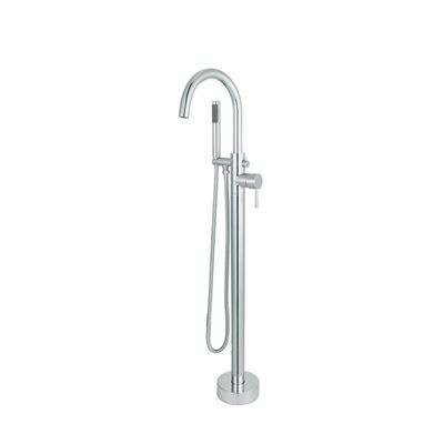 Single-Handle Floor-Mount Freestanding Tub Faucet with Hand Shower in Chrome