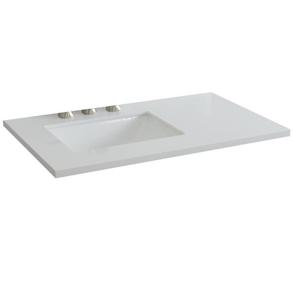 "37"" White quartz countertop and single rectangle left sink"