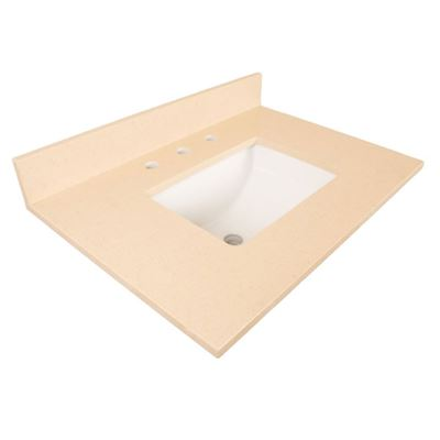 30 in. Beige quartz counter top with rectangular sink